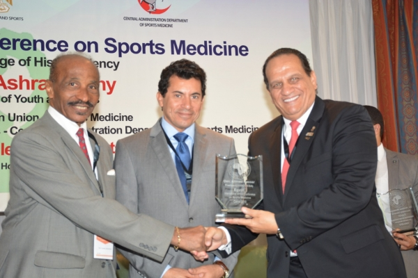 Conference of Sports Medicine in the presence of the President of the Confederation of African Sports Confederation and the President of the African Union of Sports Medicine and the Minister of Youth and Sports Dr. Ashraf Subhi Minister of Youth and